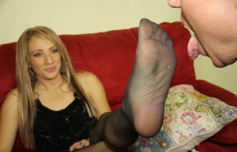 Licking nylon feet