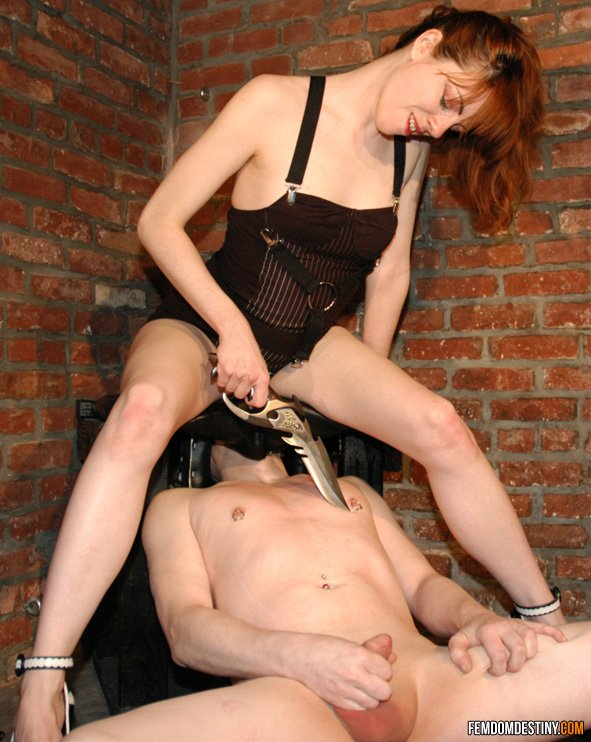 Female domination knife play