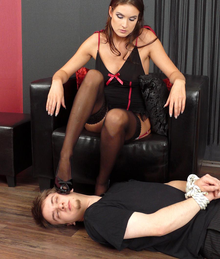Platform sandals bondage pantyhose femdom