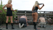 two goddesses whipping slave