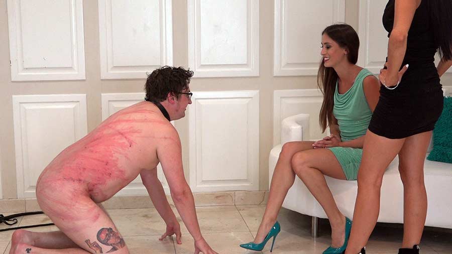 young dommes whipping naked male slave