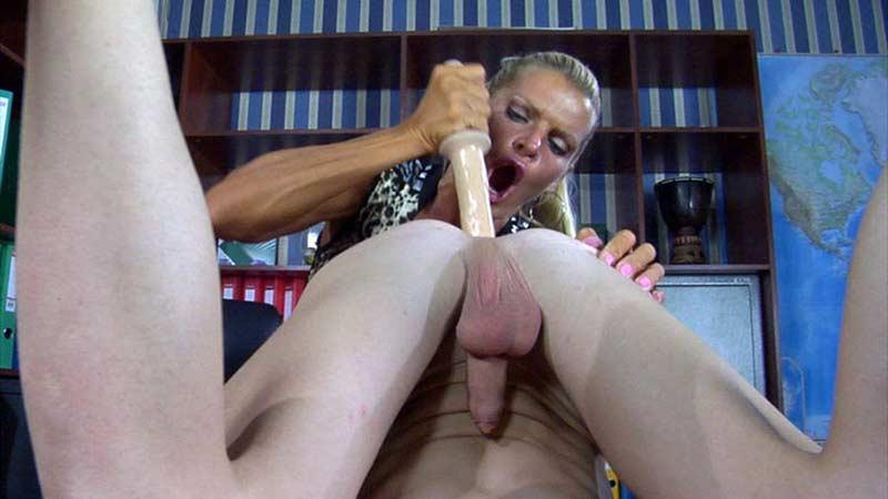 Cruel domina butt plugging young boy