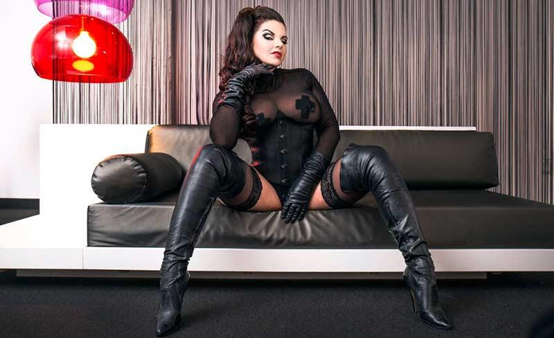 German Femdom Goddess In Black leather Boots