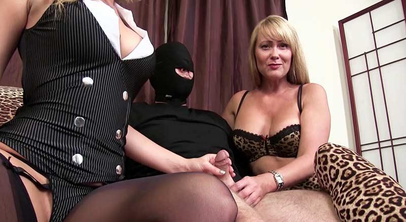 Blonde femdom goddess in leggings stroking cock
