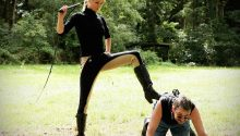 Blonde Goddess Whipping Pony Boy