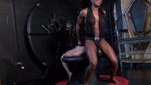 black dominatrix in dungeon