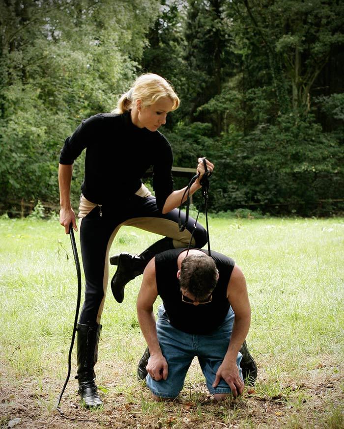 Mistress choking slave