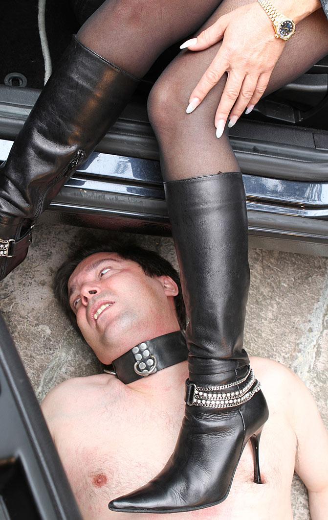 domina in black pantyhose