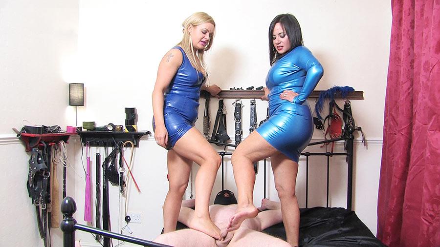 cruel Mistresses torturing slave