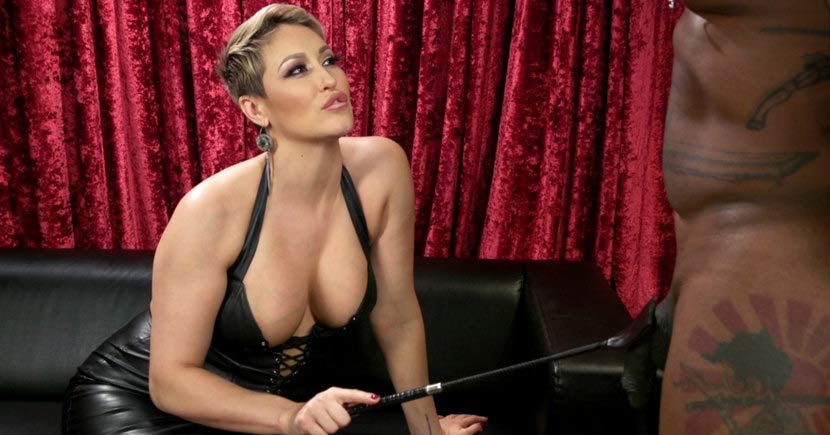 sexy dominatrix with a leather whip