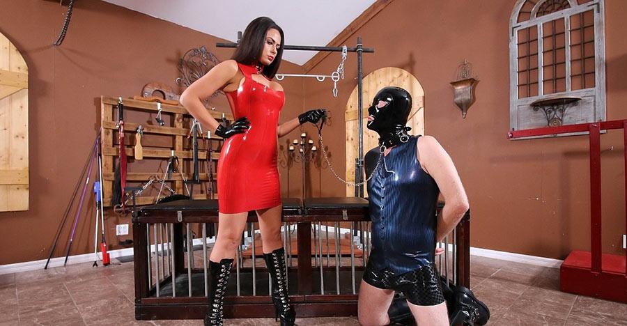 sexy mistress abusing femdom slave