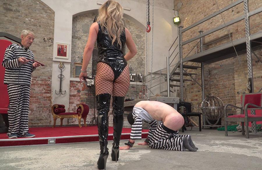 Cruel woman whipping