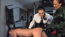 two cruel dommes pegging